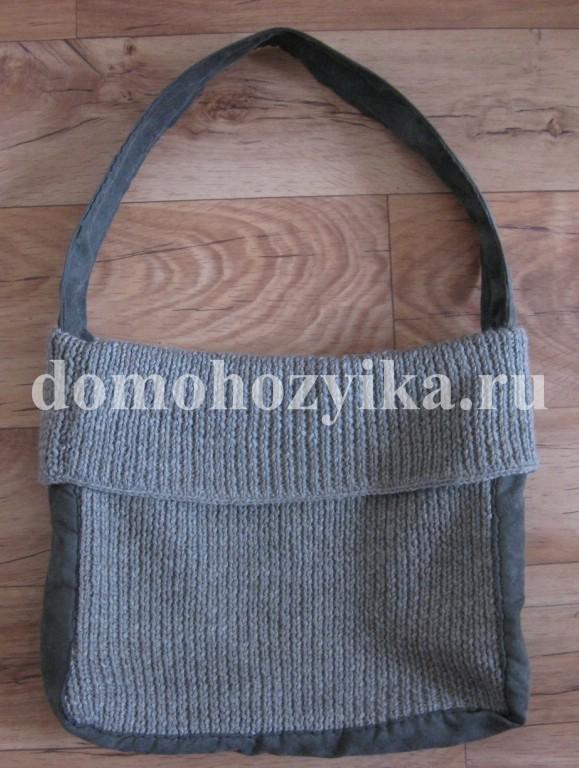Вязанная сумка мешок.