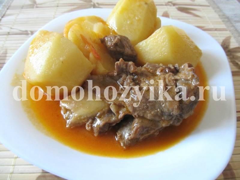 рецепт тушеной картошки с мясом с томатной пастой