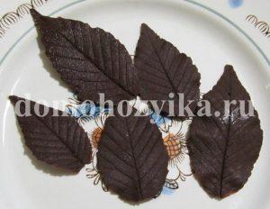 Листья из шоколада